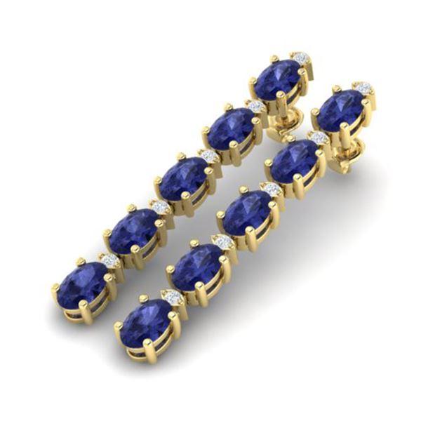10.36 ctw Tanzanite & VS/SI Certified Diamond Earrings 10k Yellow Gold - REF-102F2M