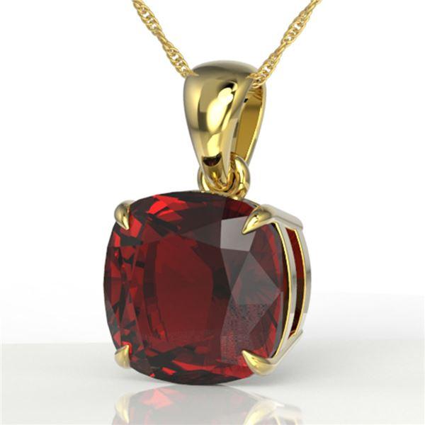 6 ctw Cushion Cut Garnet Designer Solitaire Necklace 18k Yellow Gold - REF-26R6K