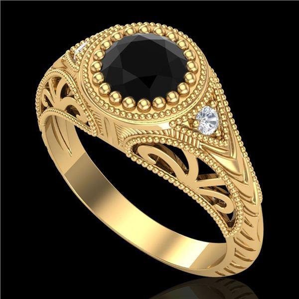 1.07 ctw Fancy Black Diamond Engagment Art Deco Ring 18k Yellow Gold - REF-56M2G