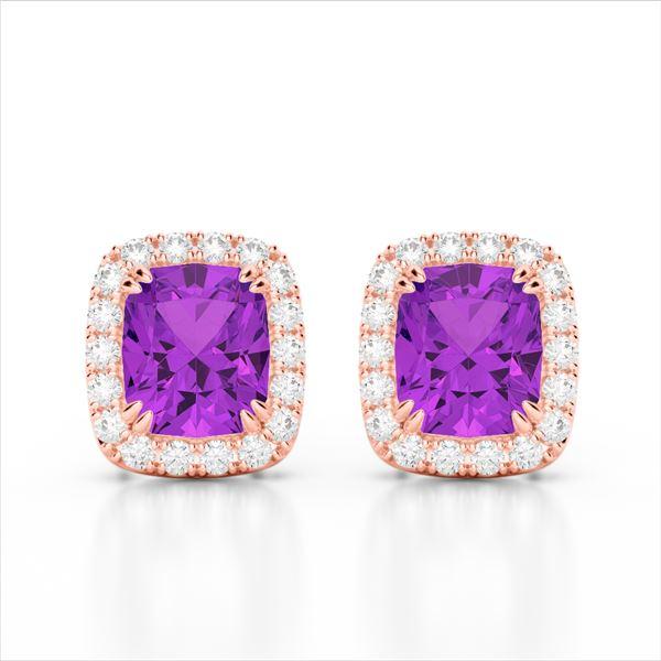 2.50 ctw Amethyst & Micro Pave VS/SI Diamond Earrings 10k Rose Gold - REF-34F3M