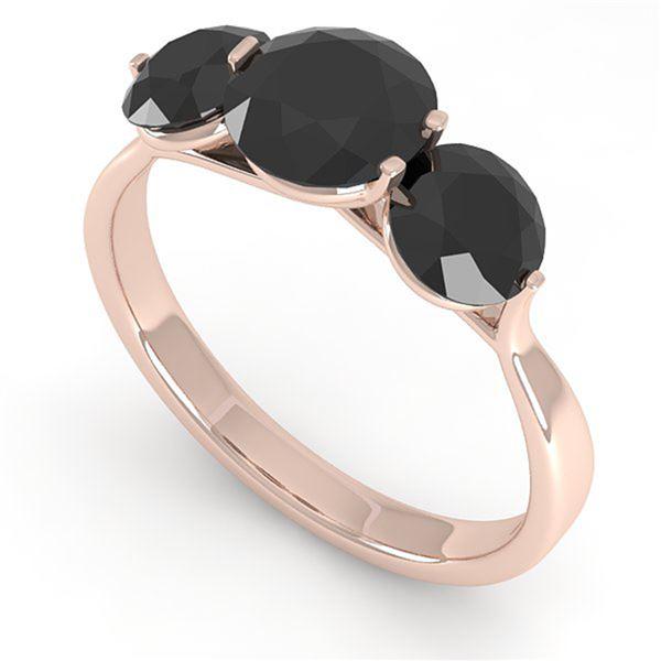 2 ctw Past Present Future Black Diamond Ring Martini 14k Rose Gold - REF-57K2Y