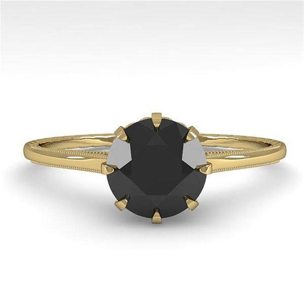 1.0 ctw Black Diamond Engagment Ring Vintage 18k Yellow Gold - REF-42H2R