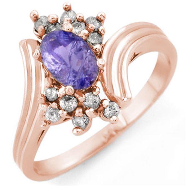1.0 ctw Tanzanite & Diamond Ring 14k Rose Gold - REF-28R4K