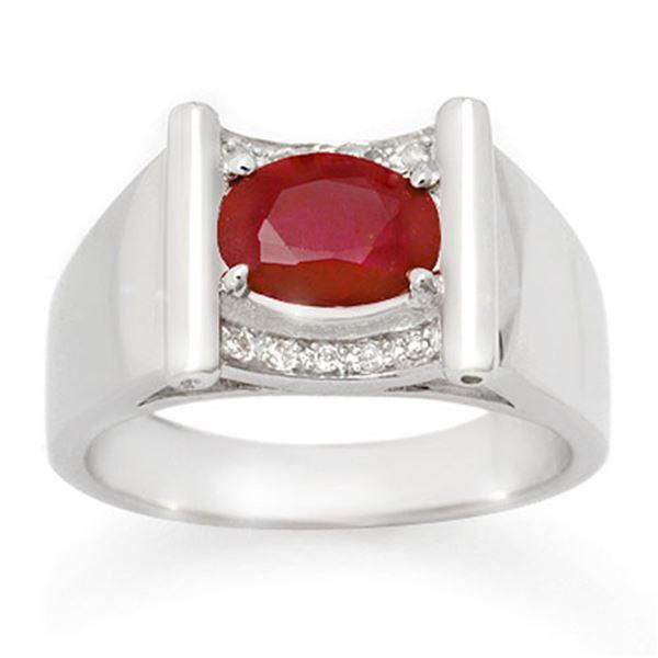 2.33 ctw Ruby & Diamond Men's Ring 10k White Gold - REF-46F5M