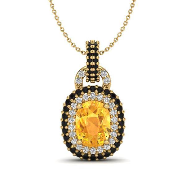 2.50 ctw Citrine With Black Micro Diamond Necklace 14k Yellow Gold - REF-52H8R