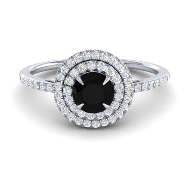 1 ctw Micro Pave VS/SI Diamond Solitaire Ring Halo 18k White Gold - REF-54M8G
