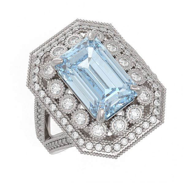 5.69 ctw Certified Aquamarine & Diamond Victorian Ring 14K White Gold - REF-170N9F
