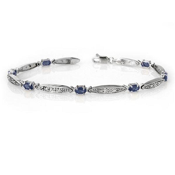 2.32 ctw Blue Sapphire & Diamond Bracelet 10k White Gold - REF-36F6M