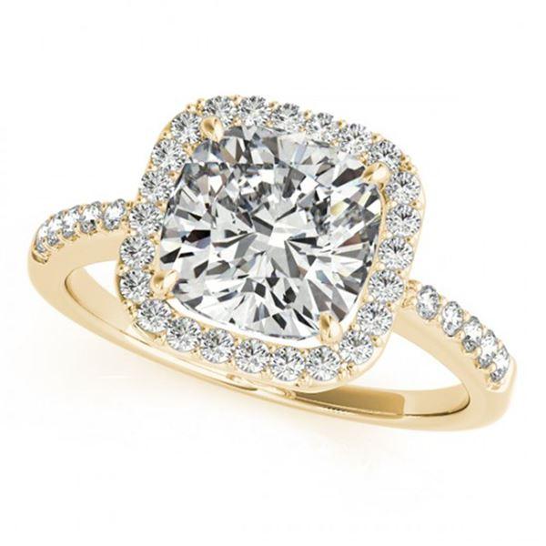0.6 ctw Certified VS/SI Cushion Diamond Halo Ring 14k Yellow Gold - REF-54W3H