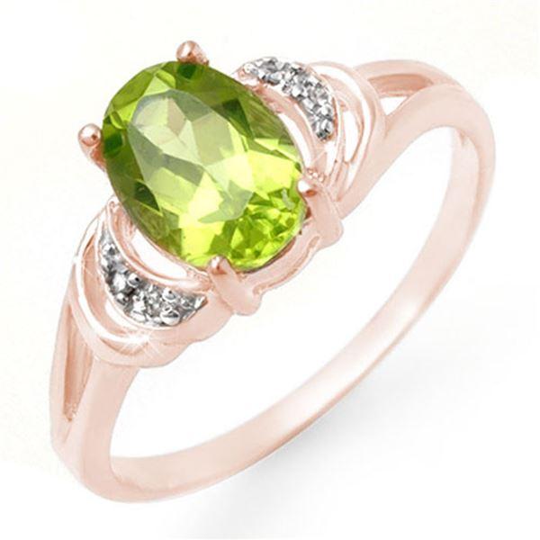 1.55 ctw Peridot & Diamond Ring 14k Rose Gold - REF-15G3W