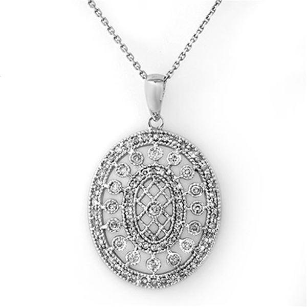 0.75 ctw Certified VS/SI Diamond Necklace 14k White Gold - REF-89G3W