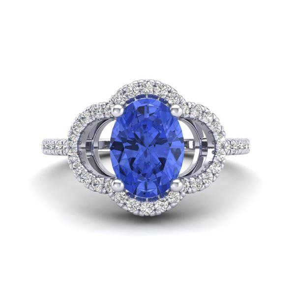 1.75 ctw Tanzanite & Micro Pave VS/SI Diamond Ring 10k White Gold - REF-41R3K