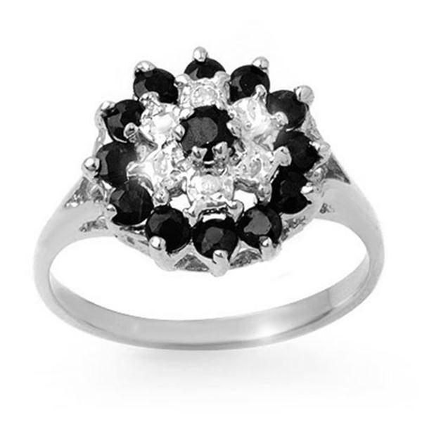 1.02 ctw Blue Sapphire & Diamond Ring 18k White Gold - REF-23F6M
