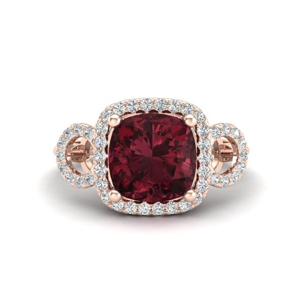 3.75 ctw Garnet & Micro VS/SI Diamond Certified Ring 14k Rose Gold - REF-40G9W