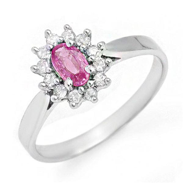 0.83 ctw Pink Sapphire & Diamond Ring 18k White Gold - REF-29K2Y
