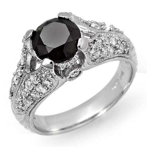 2.55 ctw VS Certified Black & White Diamond Ring 14k White Gold - REF-115A5N