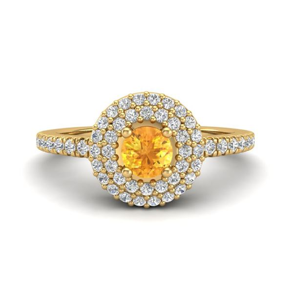 0.70 ctw Citrine & Micro Pave VS/SI Diamond Ring Halo 18k Yellow Gold - REF-42R4K