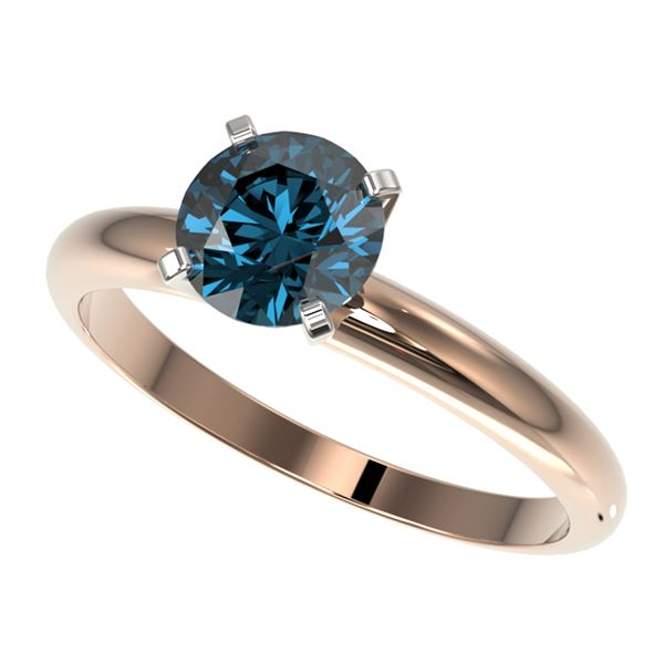 1.29 ctw Certified Intense Blue Diamond Engagment Ring 10k Rose Gold - REF-120G9W
