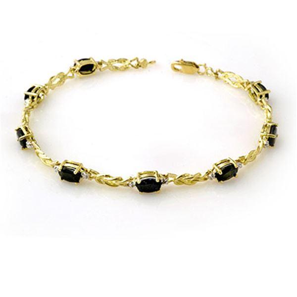 5.32 ctw Blue Sapphire & Diamond Bracelet 10k Yellow Gold - REF-26N2F