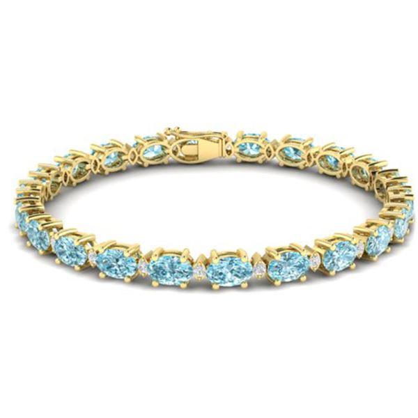 19.7 ctw Sky Blue Topaz & VS/SI Diamond Eternity Bracelet 10k Yellow Gold - REF-98H2R