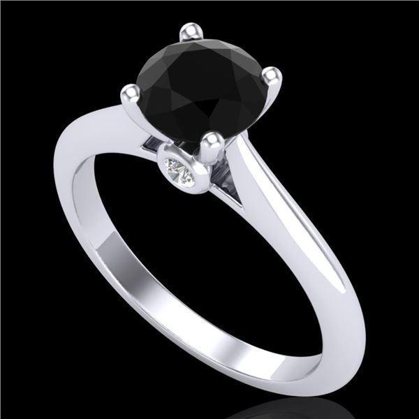 1.08 ctw Fancy Black Diamond Engagment Art Deco Ring 18k White Gold - REF-43A6N