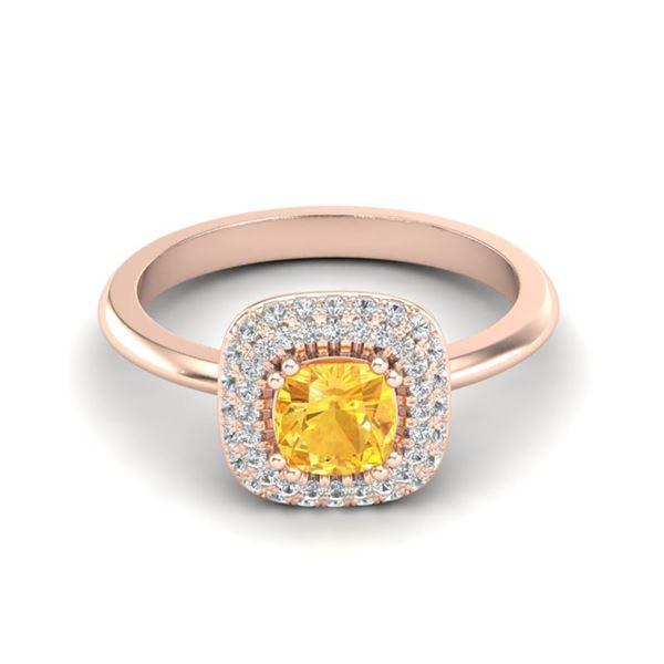 1.16 ctw Citrine & Micro VS/SI Diamond Ring Halo 14k Rose Gold - REF-44Y8X