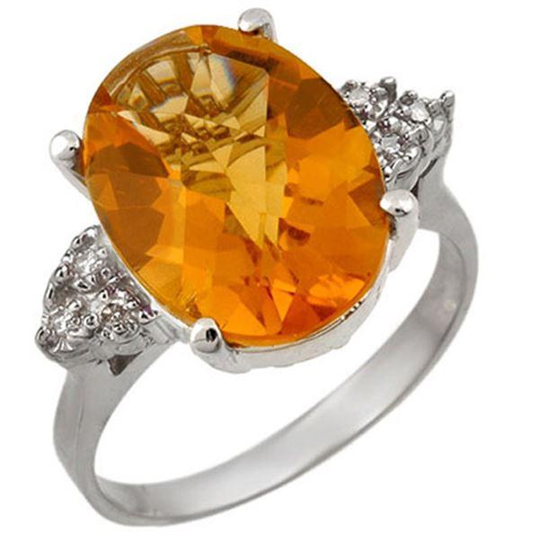 5.10 ctw Citrine & Diamond Ring 10k White Gold - REF-26F8M