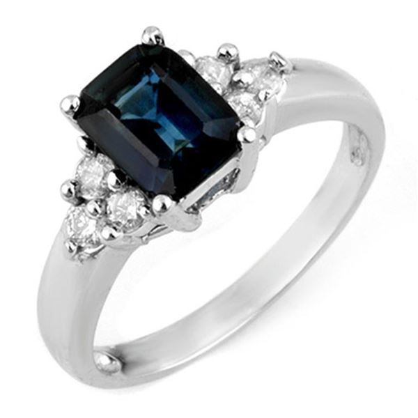 2.66 ctw Blue Sapphire & Diamond Ring 10k White Gold - REF-25W5H