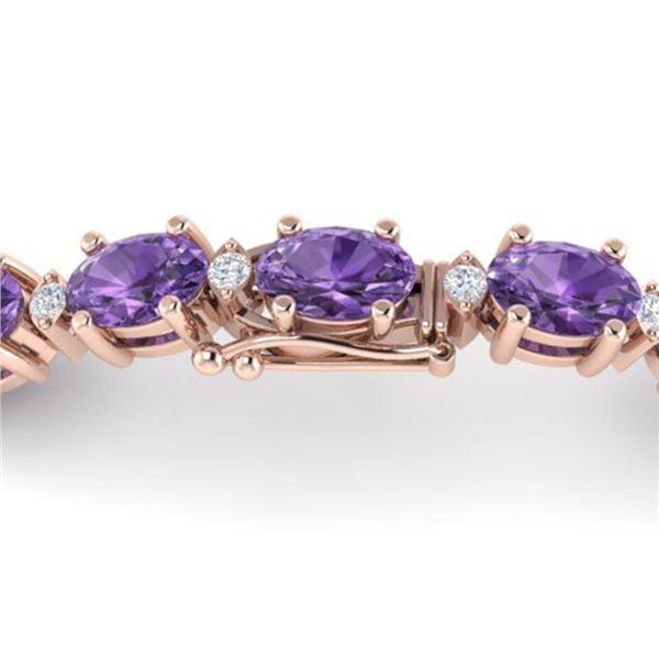 12 ctw Amethyst & VS/SI Diamond Certified Eternity Bracelet 10k Rose Gold - REF-56A2N