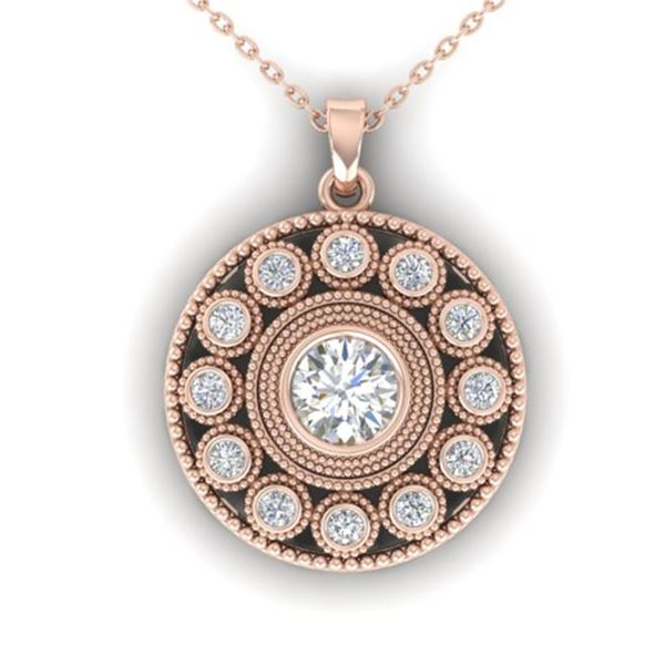 0.91 ctw Certified VS/SI Diamond Art Deco Necklace 14k Rose Gold - REF-121G3W