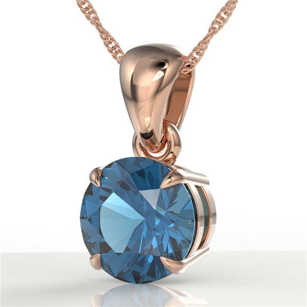 2 ctw London Blue Topaz Designer Necklace 14k Rose Gold - REF-16H4R