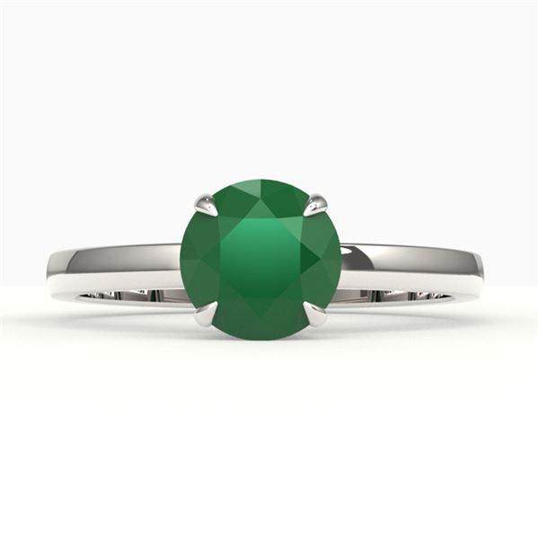 2 ctw Emerald Designer Engagment Ring 18k White Gold - REF-25H6R