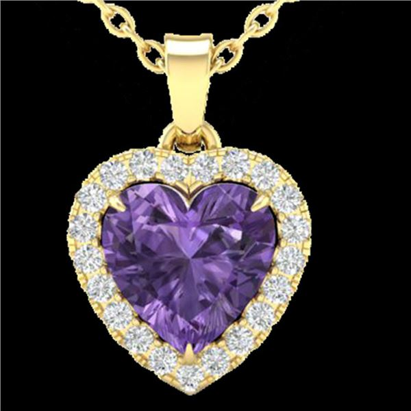 1 ctw Amethyst & Micro Diamond Heart Necklace Heart 14k Yellow Gold - REF-21Y3X