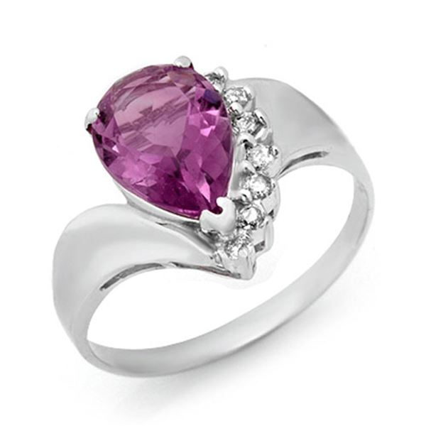 1.67 ctw Amethyst & Diamond Ring 18k White Gold - REF-21N3F