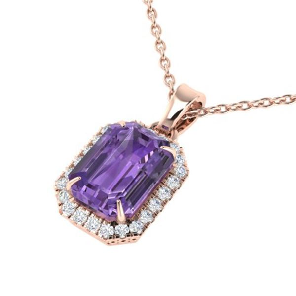 5 ctw Amethyst & Micro Pave VS/SI Diamond Necklace 14k Rose Gold - REF-34N3F