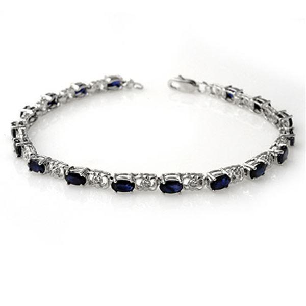6.10 ctw Blue Sapphire & Diamond Bracelet 14k White Gold - REF-80K9Y