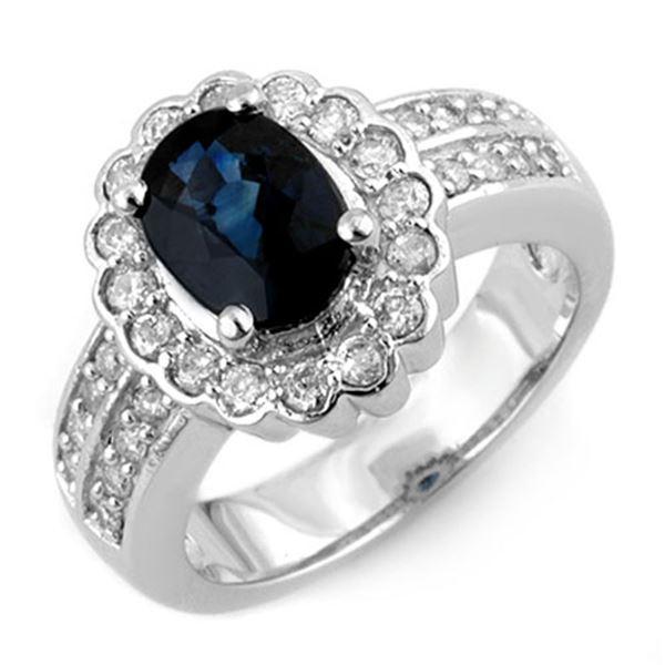 3.25 ctw Blue Sapphire & Diamond Ring 18k White Gold - REF-118M2G