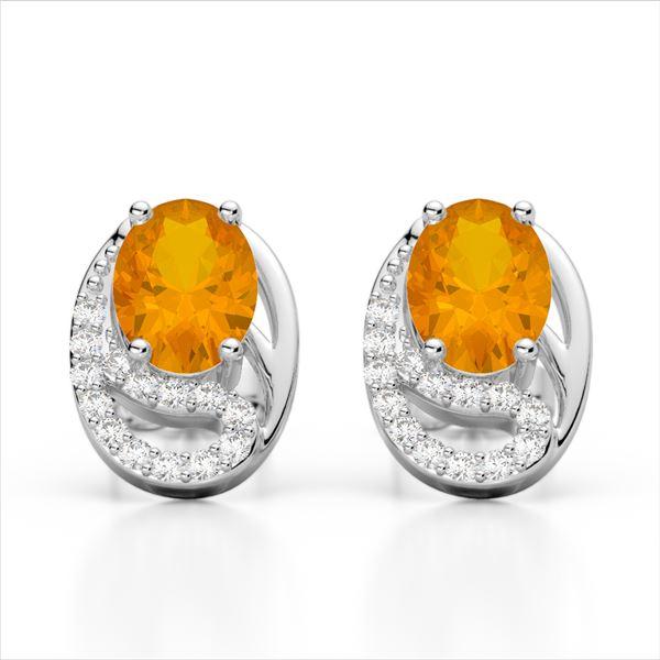 2.50 Citrine & Micro Pave VS/SI Diamond Stud Earrings 10k White Gold - REF-25W9H