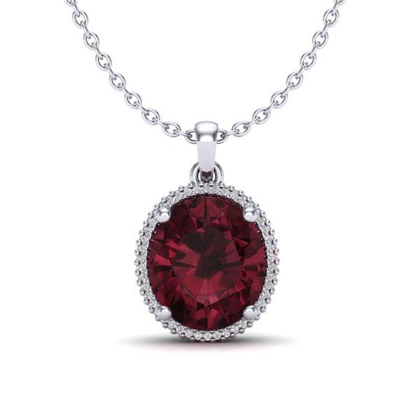 11 ctw Garnet & Micro Pave VS/SI Diamond Necklace 18k White Gold - REF-55F2M