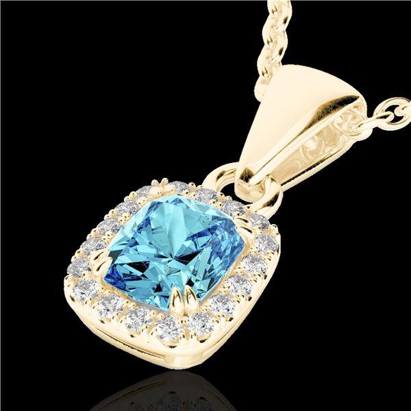 1.25 ctw Sky Blue Topaz & Micro VS/SI Diamond Necklace 10k Yellow Gold - REF-20Y5X