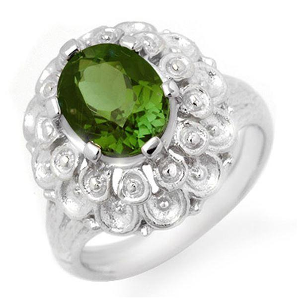 3.0 ctw Green Tourmaline Ring 10k White Gold - REF-45N2F