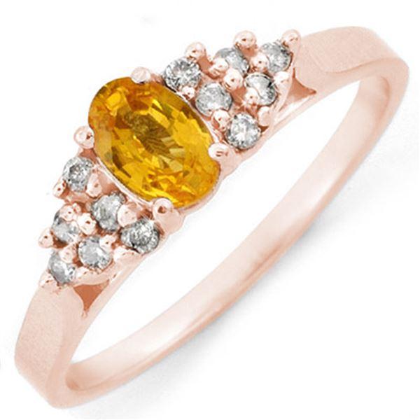 0.74 ctw Yellow Sapphire & Diamond Ring 10k Rose Gold - REF-16W8H