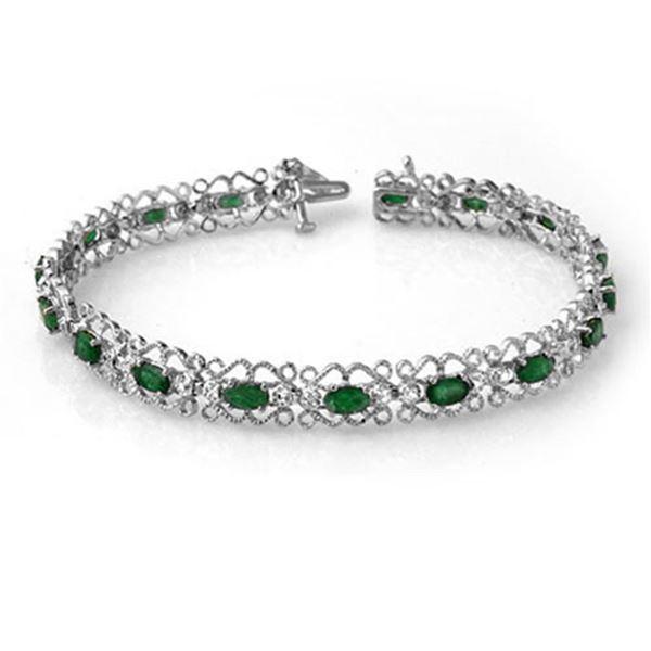 4.02 ctw Emerald & Diamond Bracelet 14k White Gold - REF-86M9G