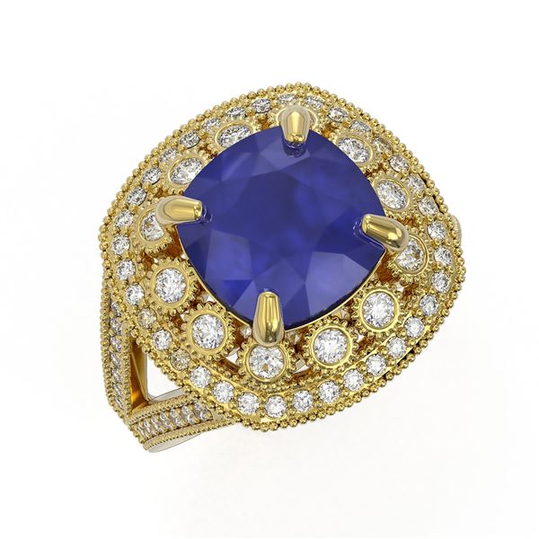 6.47 ctw Certified Sapphire & Diamond Victorian Ring 14K Yellow Gold - REF-158A2N