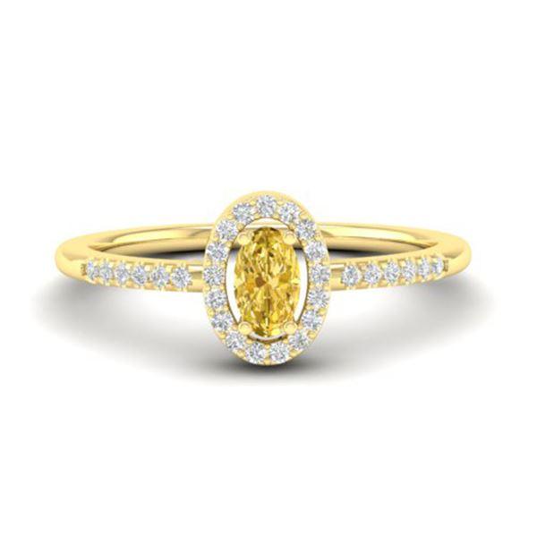 0.65 Citrine & Micro Pave VS/SI Diamond Certified Ring 18k Yellow Gold - REF-23G5W