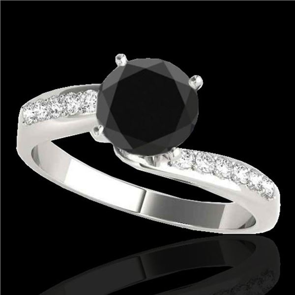 1.15 ctw Certified VS Black Diamond Bypass Solitaire Ring 10k White Gold - REF-39K5Y