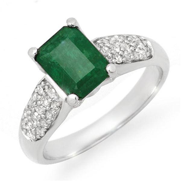 1.76 ctw Emerald & Diamond Ring 10k White Gold - REF-26R8K