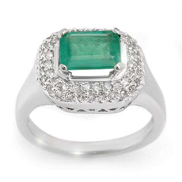 1.90 ctw Emerald & Diamond Ring 14k White Gold - REF-76X4A
