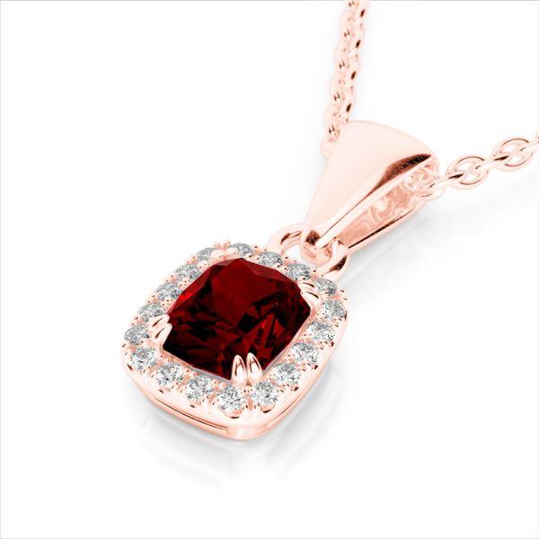 1.25 ctw Garnet & Micro Pave VS/SI Diamond Necklace 10k Rose Gold - REF-24N5F
