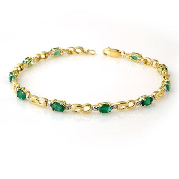 2.76 ctw Emerald & Diamond Bracelet 10k Yellow Gold - REF-32Y8X